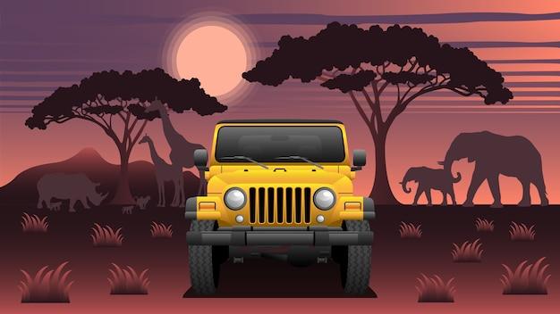 Safari expedition suv con animali e luna