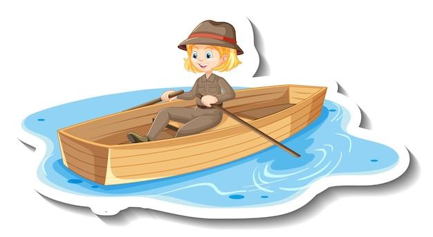 La ragazza di safari rema l'adesivo del personaggio dei cartoni animati della barca