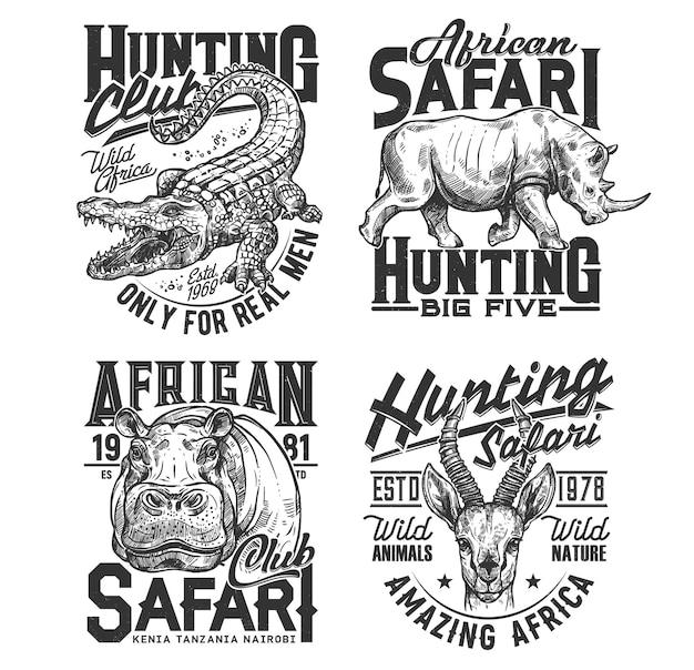Stampe della maglietta del club di caccia safari, trofeo di animali. caccia alla savana