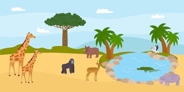 Safari natura savana fauna selvatica concetto illustrazione vettoriale animale africano al paesaggio estivo giraf...