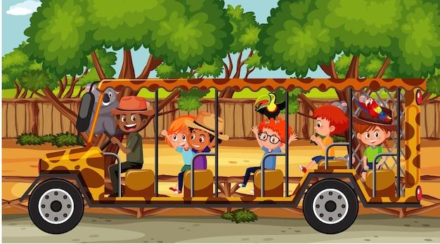 Scena del safari con bambini che guardano su un'auto turistica