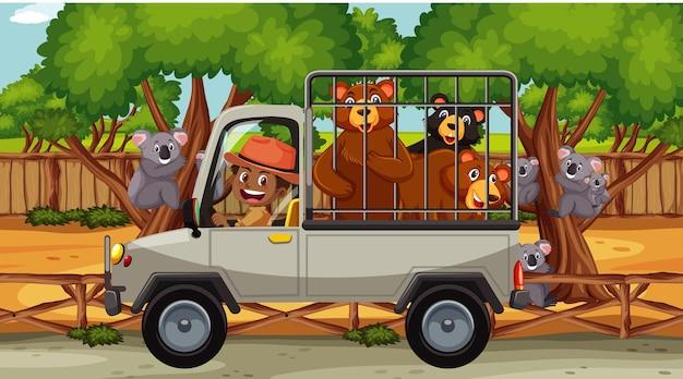 Scena del safari con molti orsi in un'auto a gabbia