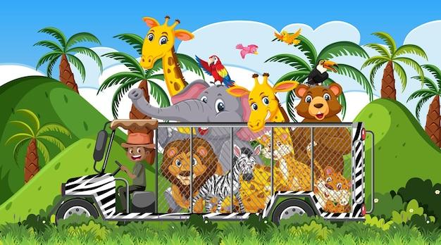Scena del safari con animali selvatici nell'auto della gabbia