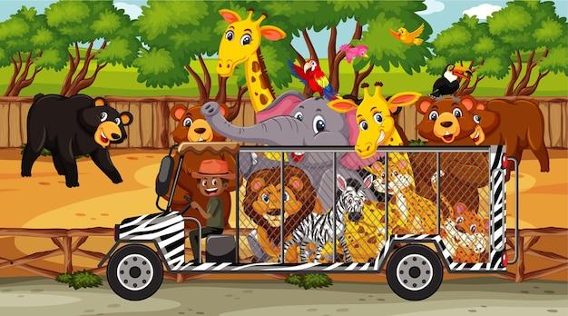 Scena del safari con animali selvatici nell'auto gabbia