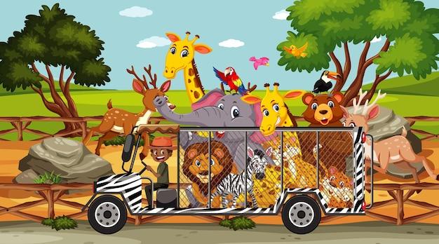Scena del safari con animali selvatici in un'auto a gabbia