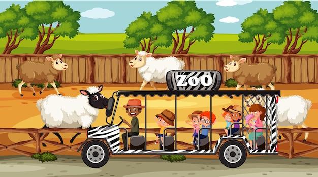Scene di safari con molte pecore e personaggi dei cartoni animati per bambini