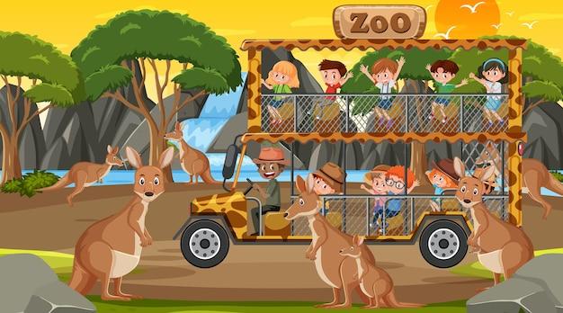 Safari al tramonto con bambini che guardano un gruppo di canguri