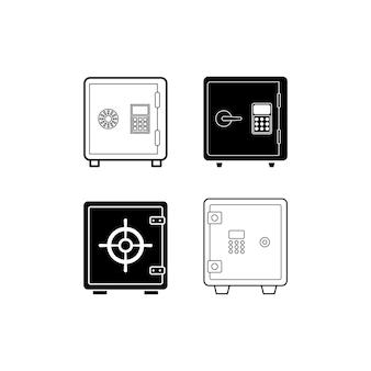 Illustrazione del modello di progettazione stabilita dell'icona della cassetta di sicurezza isolata