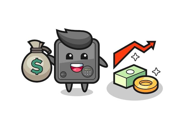 Cartone animato illustrazione scatola sicura che tiene sacco di soldi, design in stile carino per maglietta, adesivo, elemento logo