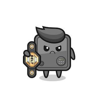 Personaggio mascotte cassaforte come combattente mma con la cintura del campione, design in stile carino per t-shirt, adesivo, elemento logo