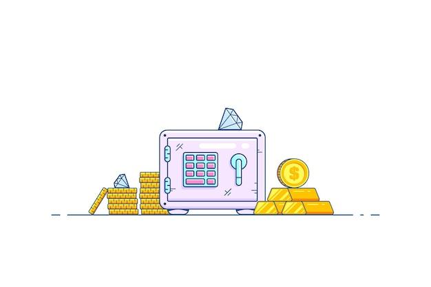 Cassetta di sicurezza con risparmio di denaro isolato