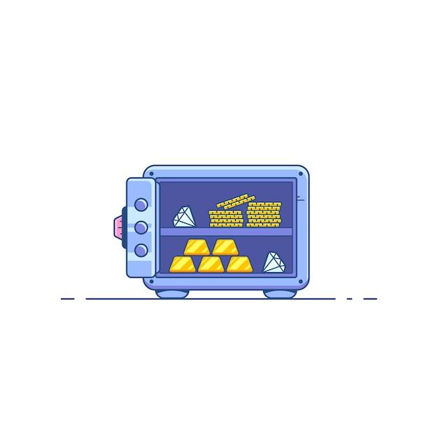 Cassetta di sicurezza con risparmio di denaro isolato.
