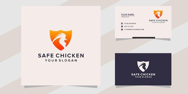 Modello di logo di pollo sicuro