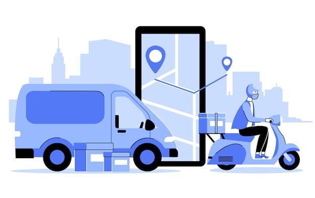 Illustrazione del concetto di consegna sicura in stile piatto