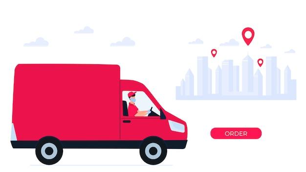 Consegna sicura durante il coronavirus covid-19. il fattorino su un'auto ha portato il pacco. ordinazione di cibo online. resta a casa concetto.