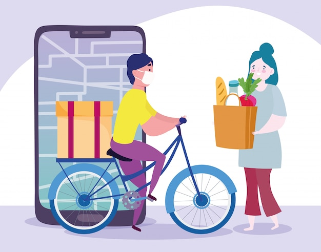 Consegna sicura a casa durante il coronavirus covid-19, corriere uomo in bici e cliente con borsa della spesa, smartphone ordina online