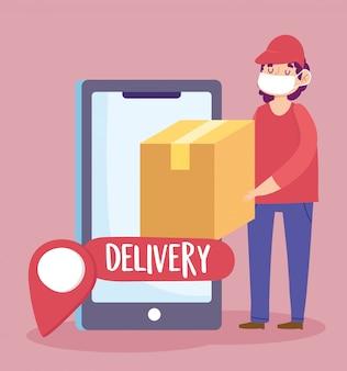 Consegna sicura a casa durante il coronavirus covid-19, corriere che trasporta illustrazione del perno di navigazione dello smartphone della scatola di cartone