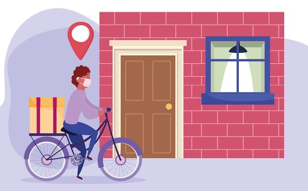 Consegna sicura a casa durante il coronavirus covid-19, corriere in sella a una bicicletta con scatola a casa