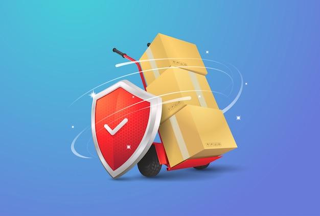 Illustrazione di consegna sicura