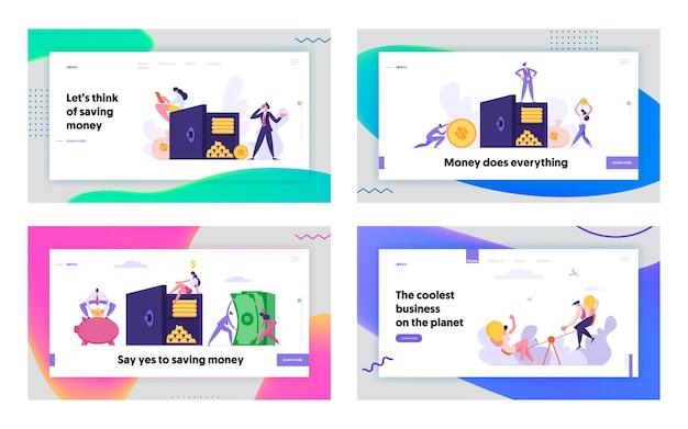 Set di pagina di destinazione del concetto di cassetta di sicurezza