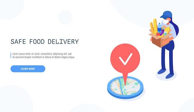 Concetto di consegna sicura del cibo. il corriere femminile tiene le scatole nella mascherina medica, consegna il pacchetto con il cibo.