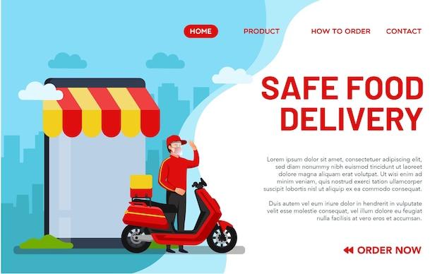 Concetto di consegna di cibo sicuro per la pagina di destinazione. illustrazione di un uomo che consegna cibo che segue le regole sanitarie