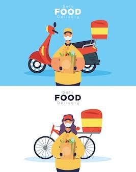 Lavoratori in coppia di consegna cibo sicuro con borse della spesa e veicoli