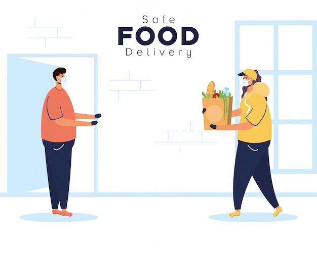 Lavoratrice sicura di consegna dell'alimento con la borsa e il cliente di drogherie