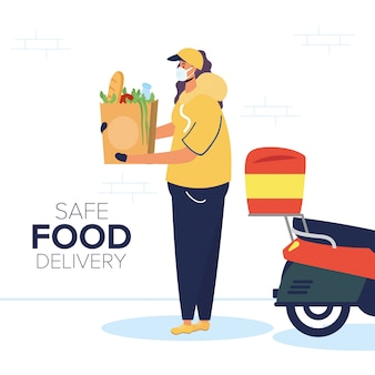 Lavoratrice sicura di consegna dell'alimento con la borsa di drogheria in motociclo
