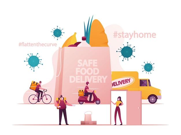 Illustrazione di consegna sicura del cibo
