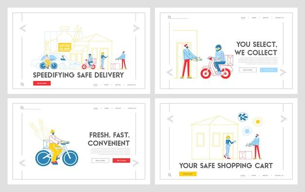 Insieme di modelli di pagina di destinazione consegna cibo sicuro