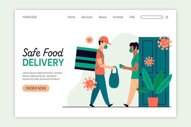 Pagina di destinazione per la consegna sicura degli alimenti