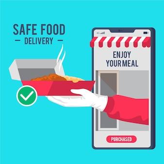 Servizi di consegna di alimenti sicuri su cellulare