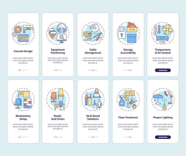 Luogo di lavoro sicuro e salutare per i lavoratori che accedono alla schermata della pagina dell'app mobile con set di concetti