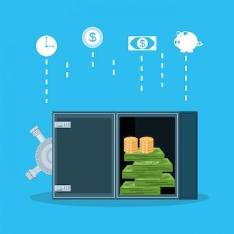 Cassaforte sicura con set icone finanza economia