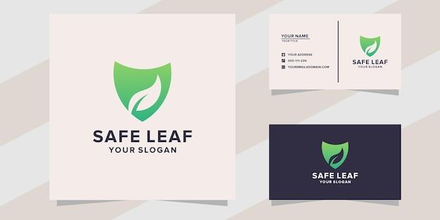 Modello di logo foglia sicura