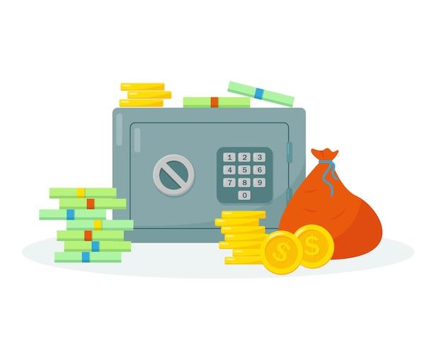 Cassaforte e denaro per il deposito. risparmio di denaro concetto.