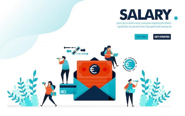 Busta paga sicura, in attesa di un salario mensile con pagamento classico per busta.