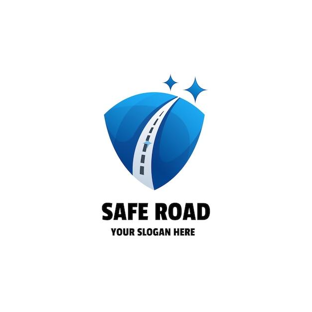 Modello logo gradiente strada sicura