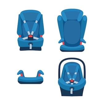 Collezione di seggiolini auto di sicurezza. diversi tipi di seggiolini per bambini. oggetti isolati.