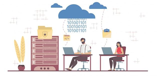 Scambio di dati aziendali sulla sicurezza tecnologia saas