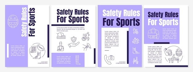 Regole sportive di sicurezza, modello di brochure per attività sanitarie. volantino, opuscolo, stampa di volantini, copertina con icone lineari. layout vettoriali per riviste, relazioni annuali, manifesti pubblicitari