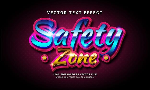 Effetto stile di testo modificabile 3d della zona di sicurezza