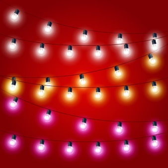 Cadenti infilati di luci natalizie - decorazioni di carnevale