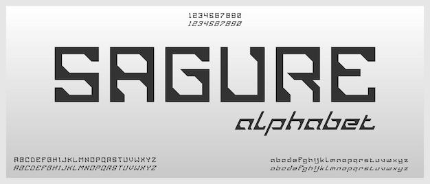 Sagure, carattere alfabeto moderno digitale con modello in stile urbano