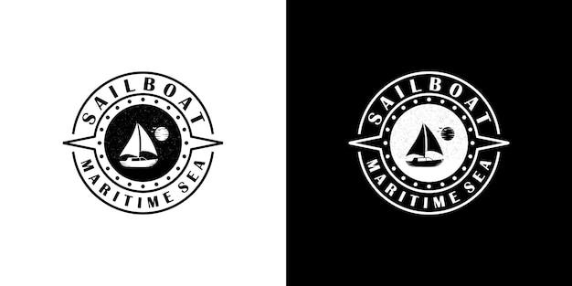 Ispirazione per il design del logo dell'emblema della barca a vela