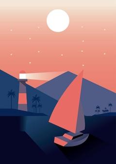 Barca a vela e faro nella progettazione dell'illustrazione di vettore di scena del paesaggio di viaggio di aventure del mare