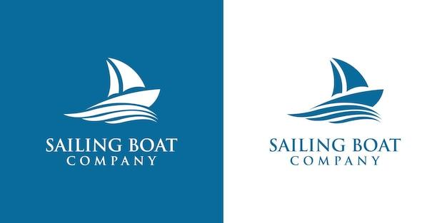 Design del logo della barca a vela, il design è adatto per le aziende marittime