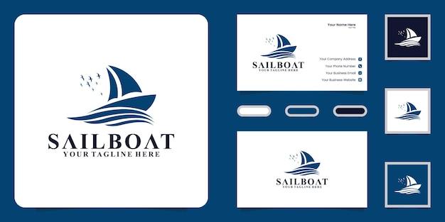 Ispirazione per il design del logo della barca a vela e ispirazione per i biglietti da visita Vettore Premium