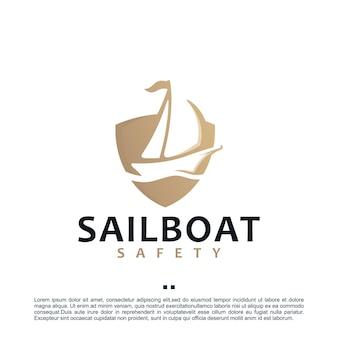 Barca a vela, scudo, modello di progettazione del logo